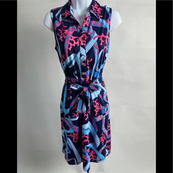 J McLaughlin Sleeveless collared belt dress Small